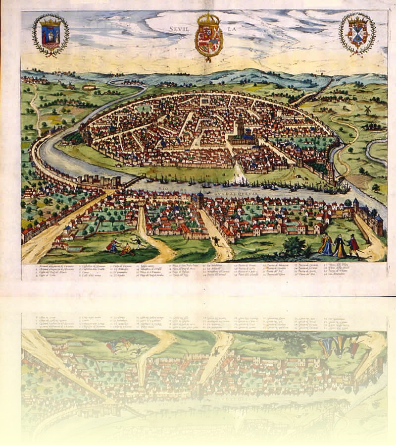 Map of Seville around 1588
